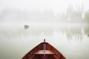 Fototapeta Jesień Boats in mysterious fog