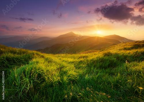 Fototapeta Mountain valley during sunrise. Natural summer landscape