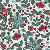 Strawberry berries and flowers seamless pattern