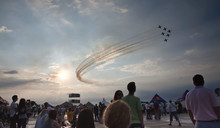AIRSHOW, ROMANIA JUNE 20TH: AIR FORCES PERFORMING AEROBATIC EXERCISE