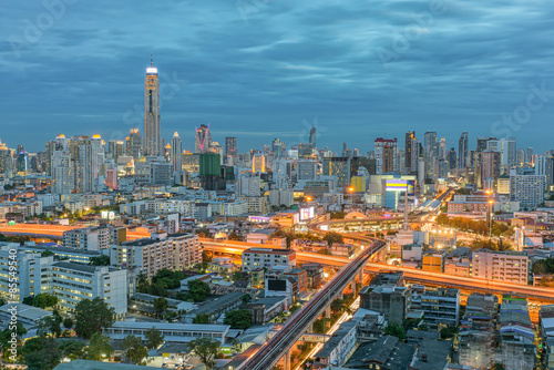 Bangkok city in night view with nice sky, Thailand
