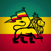 Judah Lion With A Rastafari Fl...