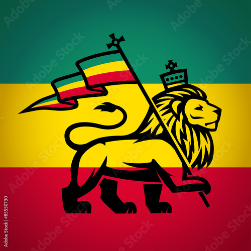 Obraz na plátně  Judah lion with a rastafari flag. King of Zion logo illustration