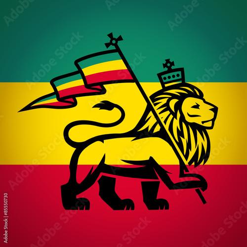 Fényképezés Judah lion with a rastafari flag. King of Zion logo illustration