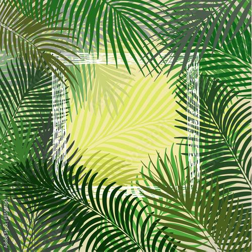 Ingelijste posters Tropische Bladeren Hand drawn green frame of palm leaves