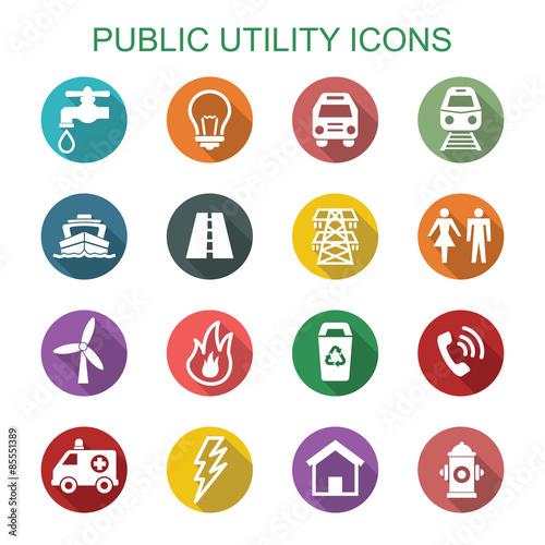 public utility long shadow icons Wall mural