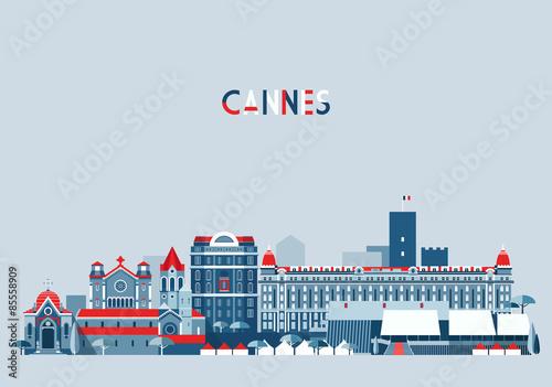 Fotografie, Obraz Cannes France city skyline vector background Flat trendy illustration