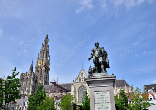 Canvas Prints Antwerp Statue of Rubens with Cathedral of Our Lady in Antwerp, Belgium.