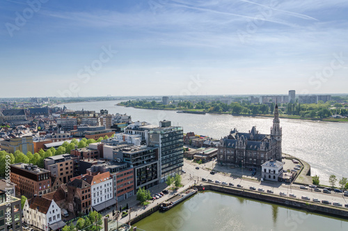 Photo sur Toile Antwerp Aerial view over the city of Antwerp in Belgium