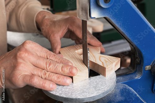 Fotografie, Obraz Making wooden letters
