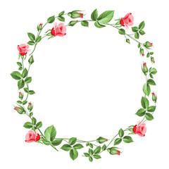 Panel Szklany Róże Rose wreath isolated on white.
