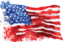 Flag Of America, Hand-drawn Wa...