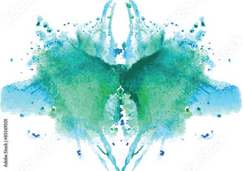 Fotografía watercolor symmetrical Rorschach blot on a white background