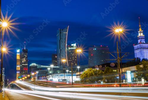 Obraz Warszawa nocą - fototapety do salonu