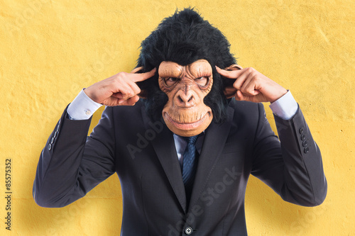 Keuken foto achterwand Aap Monkey man thinking over white background