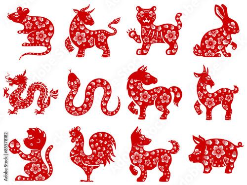 Fotografía  Chinese papercut Zodiac icons.