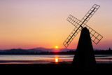 Windmill on twilight time