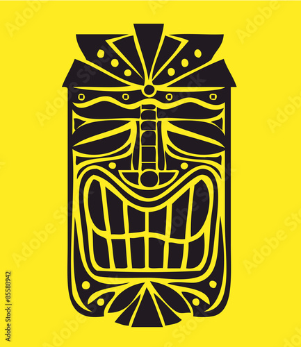 hawaiian tiki mask vector design exotic polynesian decorative