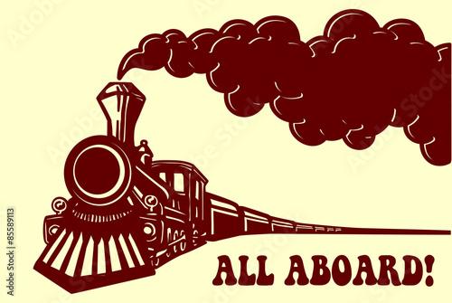 Fotografie, Obraz  All aboard! Vintage steam train locomotive with smoke puff isolated vector illus