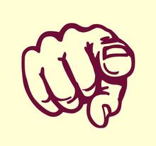 I Want You! Vintage Pointing Finger Vector Illustration, Design Element