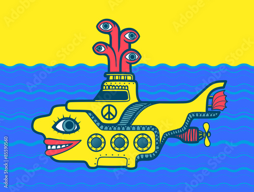 Fotografía  Yellow submarine at sea cartoon vector design with peace sign, psychedelic 60s i