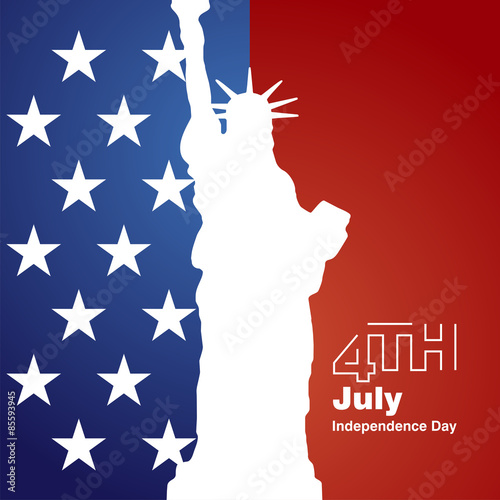 Poster  Liberty 4th July stars white logo blue red background