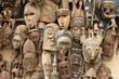 Leinwanddruck Bild - Historische Masken auf einem Markt in Dakar (Senegal)