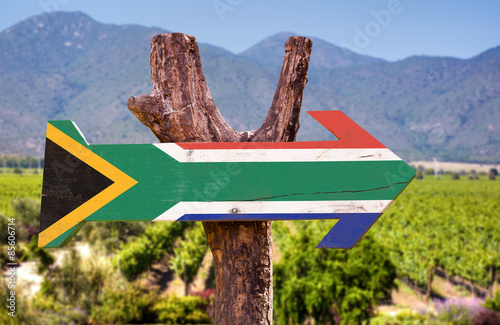 Poster de jardin Afrique du Sud South Africa Flag wooden sign with vineyard background