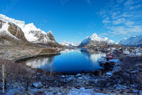 Poster Scandinavie snow in Reine Village, Lofoten Islands, Norway