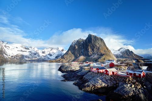 Poster Scandinavie Fishing huts at spring day - Reine, Lofoten islands, Norway