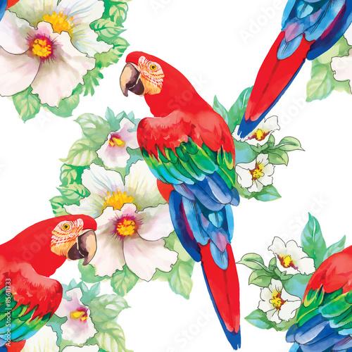 akwarela-papugi-na-tle-kwiatow-bezszwowy-wzor