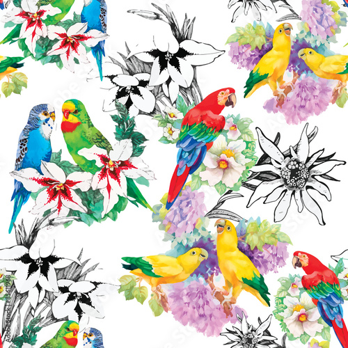 Fotobehang Papegaai Watercolor parrots on a floral background. Seamless pattern.