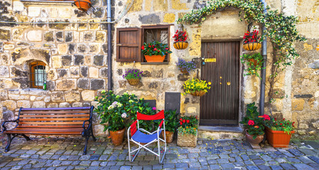 Fototapeta na wymiar authentic charming streets of medieval villages of Italy,Bolsena