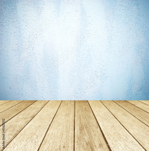 blue cement wall and perspective wood background product display