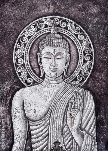 Fotografie, Obraz  Buddha malba akrylem