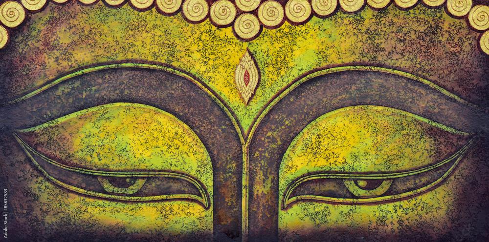 Fotografie, Obraz  Buddha tvář malba akrylem