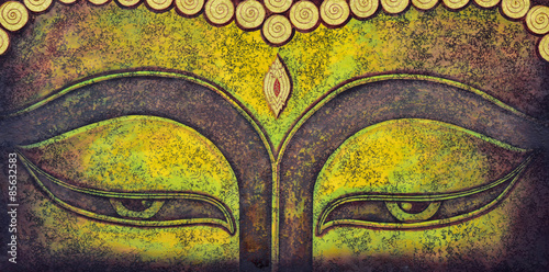buddha face acrylic painting Wallpaper Mural