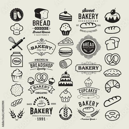 Fotografie, Obraz  Bakery logotypes set.