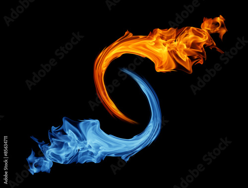 Plakat Symbol Yin-yang, lód i ogień