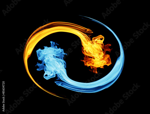 Canvastavla  Yin-yang symbol, ice and fire