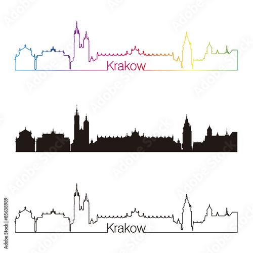 Fototapeta Krakow skyline linear style with rainbow obraz