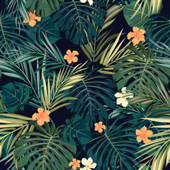 Panel SzklanyBright colorful tropical seamless background with leaves and