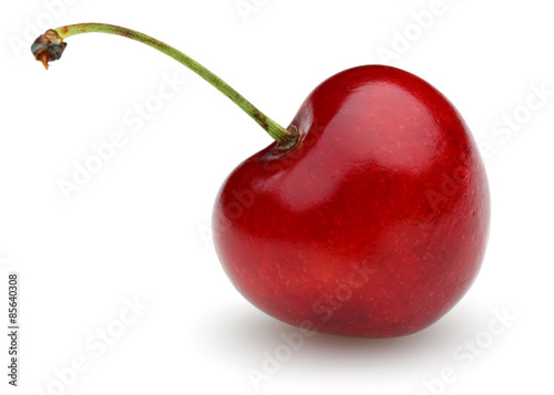 Ripe red cherry with stalk isolated on white background