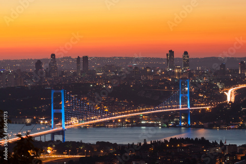 Bosphorus Bridge at sunset, Istanbul Turkey Fototapeta