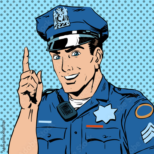 Fotografía  police officer warns draws attention profession smile law and or