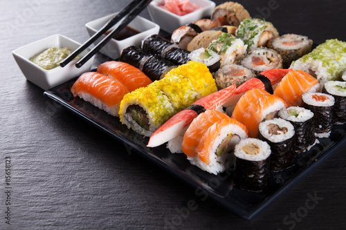 Photo  Japanese seafood sushi set