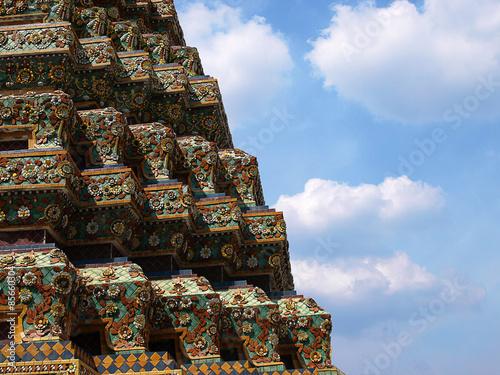 Detail of ancient pagoda at wat po temple in Bangkok, Thailand Poster