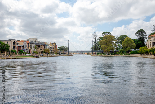 Pedestrian bridge and a small harbour in East Perth