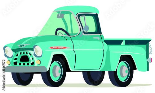 Caricatura Camioneta Chevrolet Apache 1957 Verde Vista Frontal Y