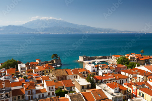 Nafpaktos village in the Gulf Of Corinth, Greece.